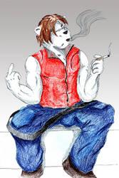 Smoking - Color Pencil