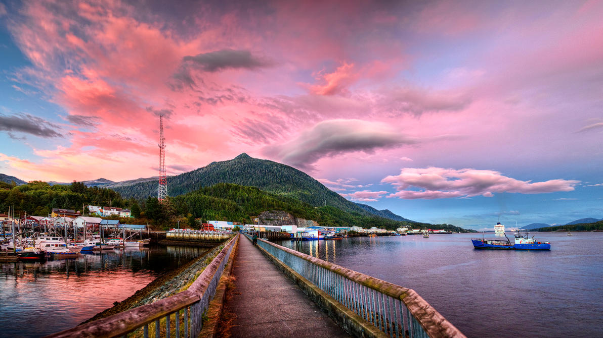 Pink Clouds Over Deer Mountain by Muskeg