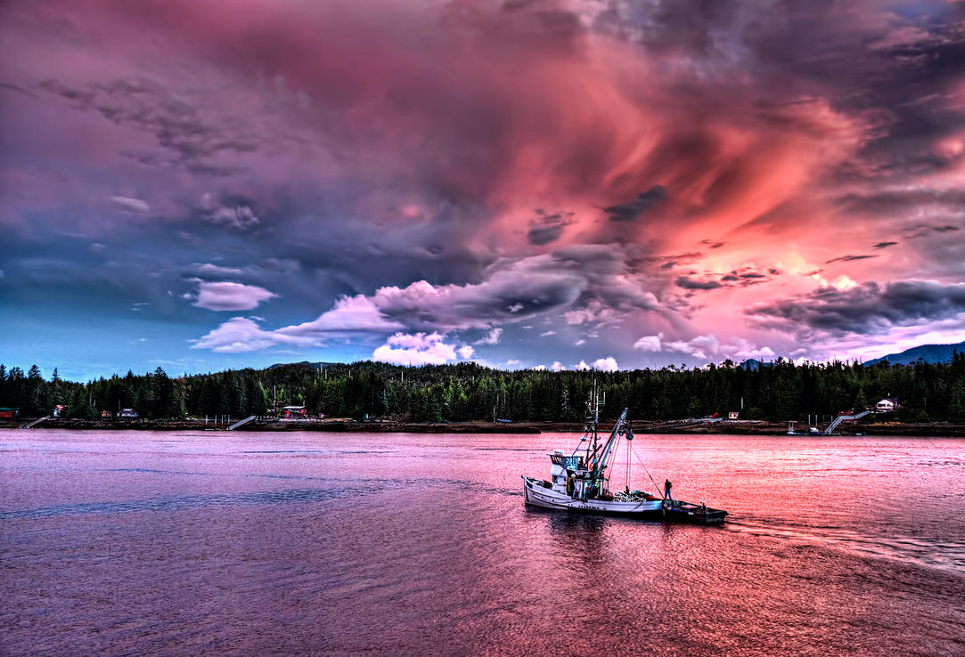 Fishing Boat Under Pink Skies by Muskeg