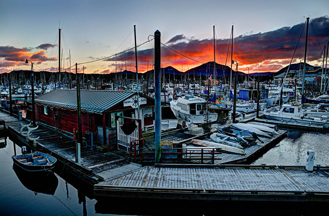 Sunset over Thomas Basin and Ketchikan Yacht Club by Muskeg