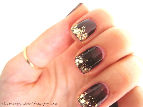 Oxblood Glitter Nails by IoanaZ