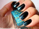 Black and Blue Glitter Tips