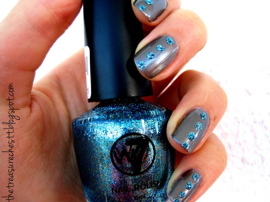 Blue Glitter Rhinestone Nails by IoanaZ