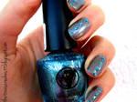 Blue Glitter Rhinestone Nails
