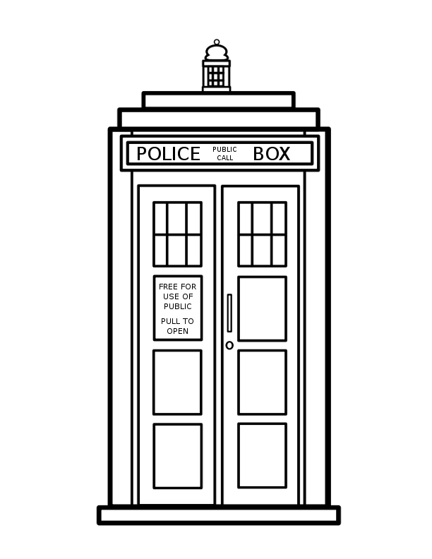 TARDIS - Colouring Coloring Page- Doctor Who