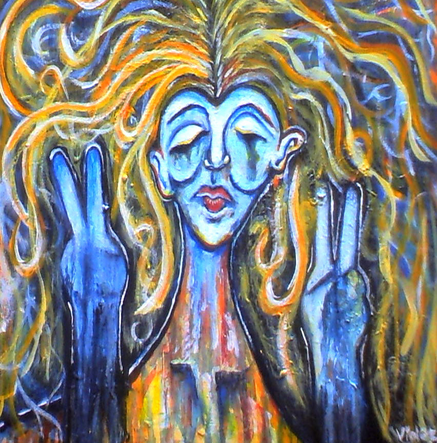 past acrylic painting hippie by lyssagal on deviantart