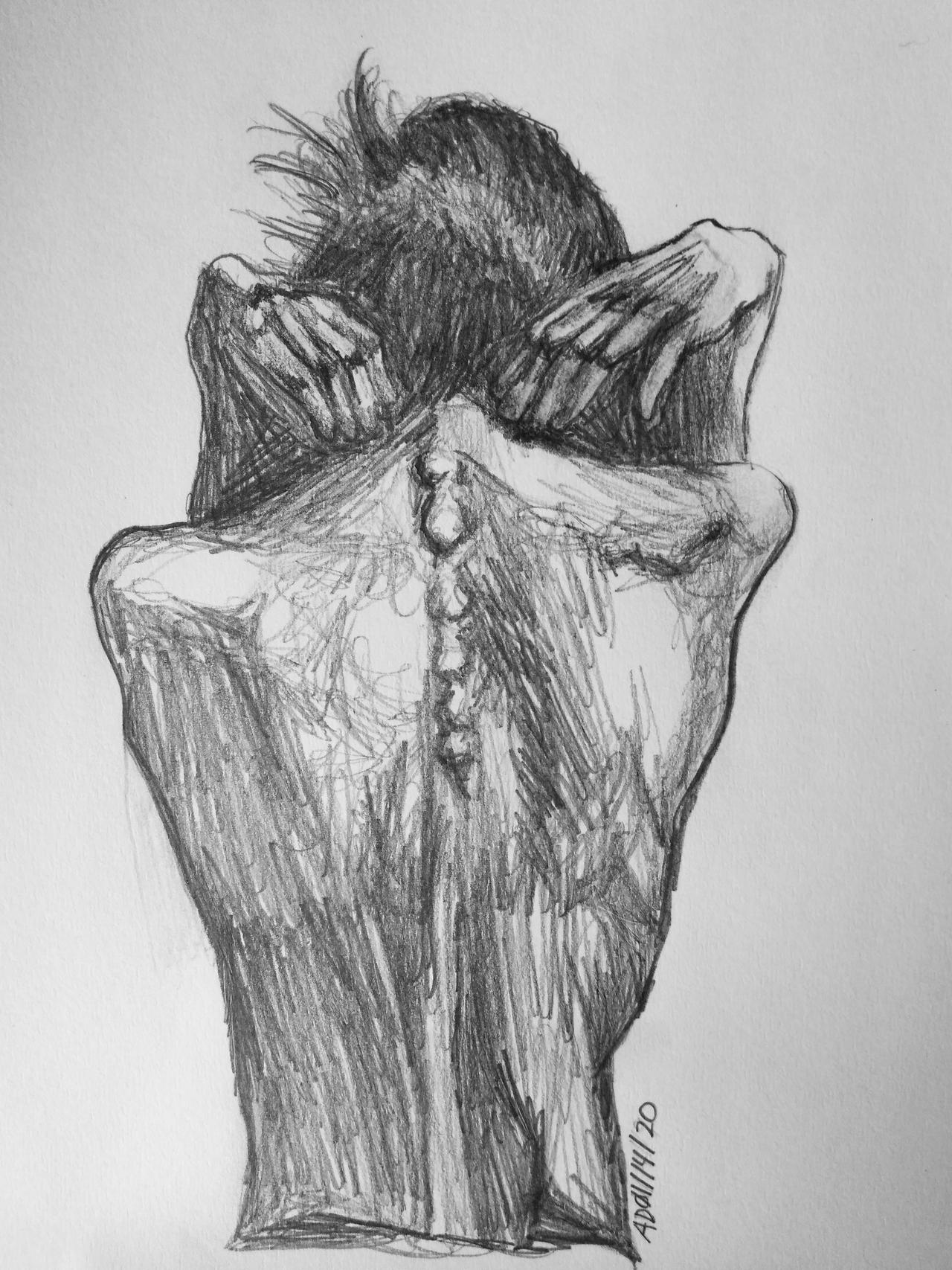 Clutching To Reality, Pencil Drawing
