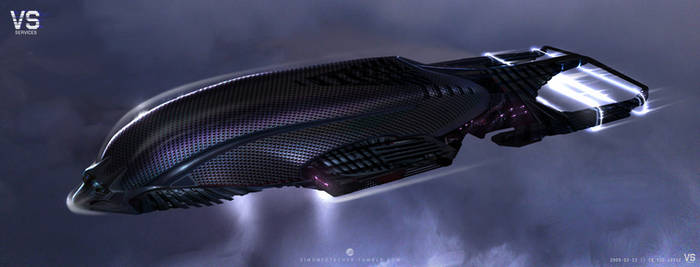 Spaceship in clouds 2