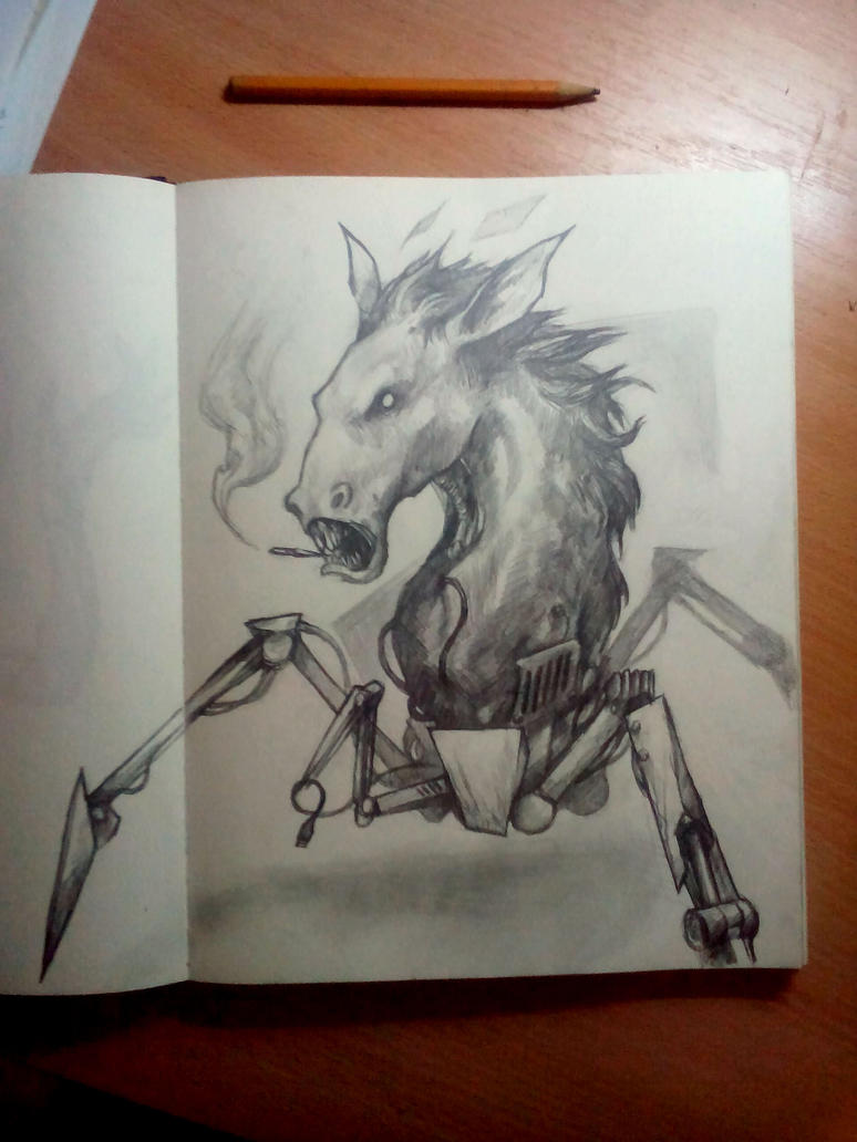 something something smoking horseheaded robospider by O-organ