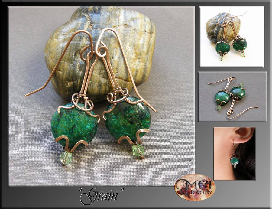 Grain- wire wrap earrings by mea00