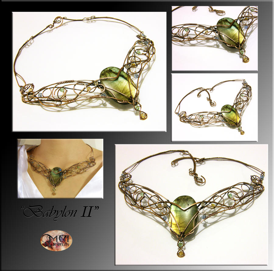 Babylon II- wire wrapped necklace by mea00