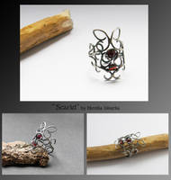 Scarlet- wire wrapped ring by mea00