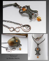 Talwyn- wire wrapped pendant by mea00