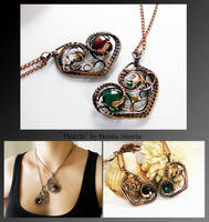 Hearts- wire wrapped matching necklace by mea00