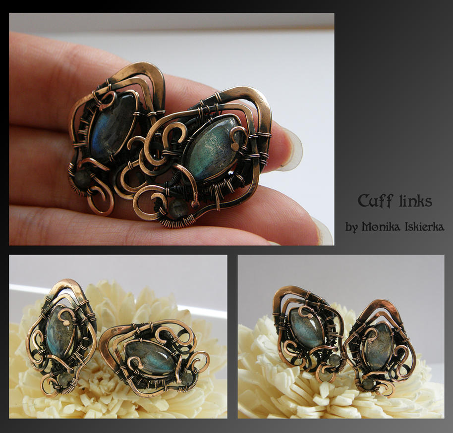 Cuff links- wire wrapped copper by mea00