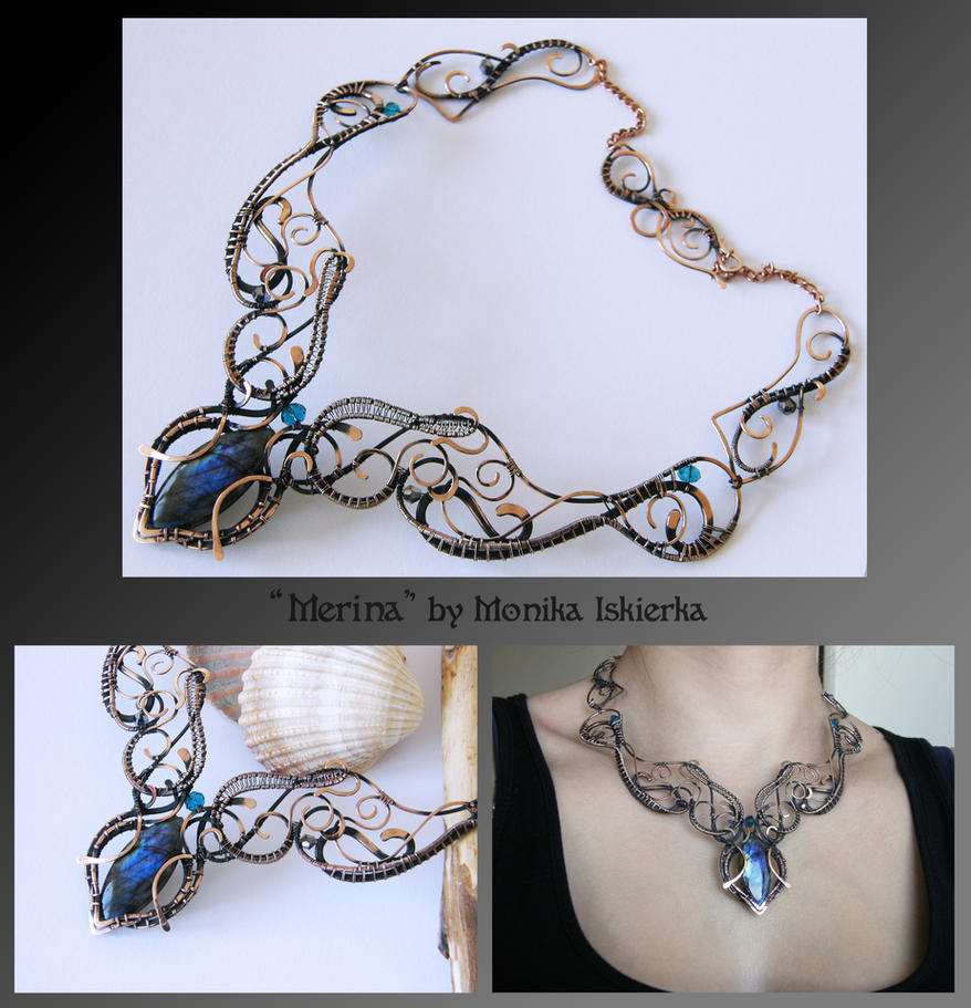Merina- wire wrapped copper necklace by mea00