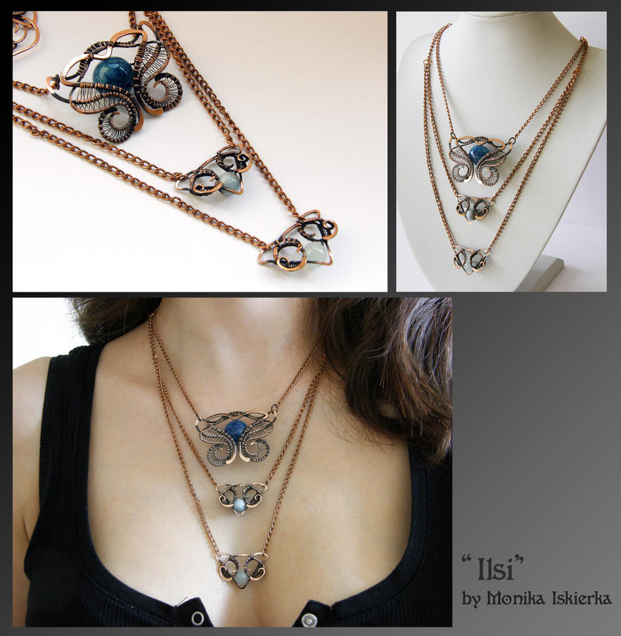 Ilsi- wire wrapped copper necklace by mea00