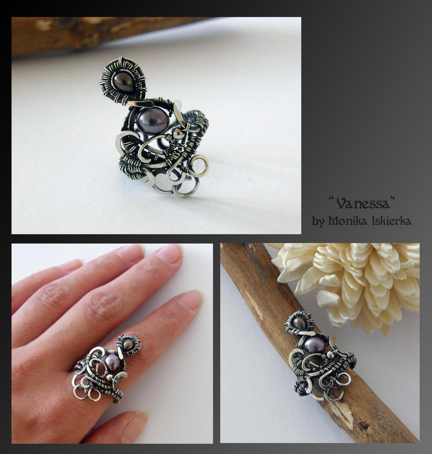 Vanessa- wire wrapped silver ring by mea00
