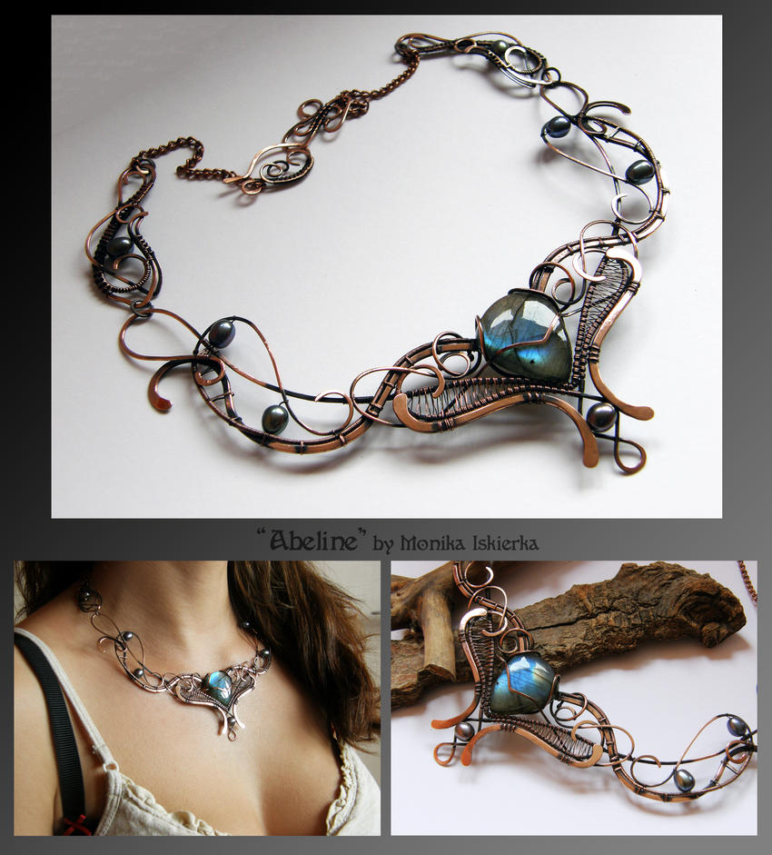 Abeline- wire wrapped copper necklace by mea00