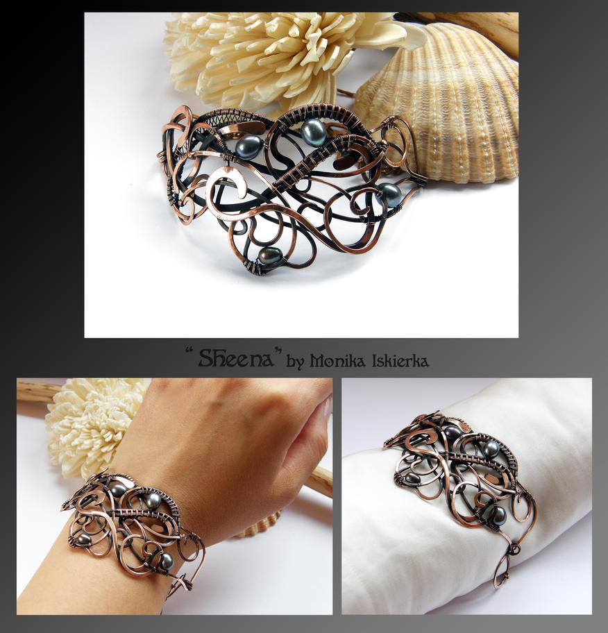 Sheena- wire wrapped copper bracelet by mea00