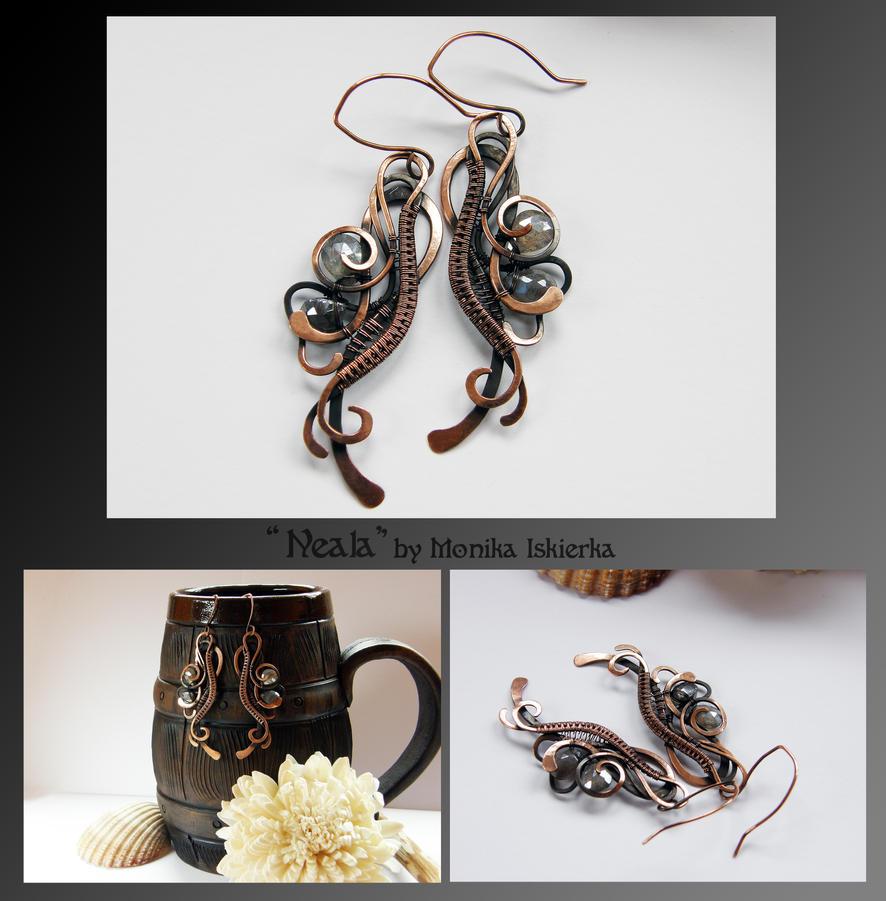 Neala- wire wrapped copper earrings by mea00