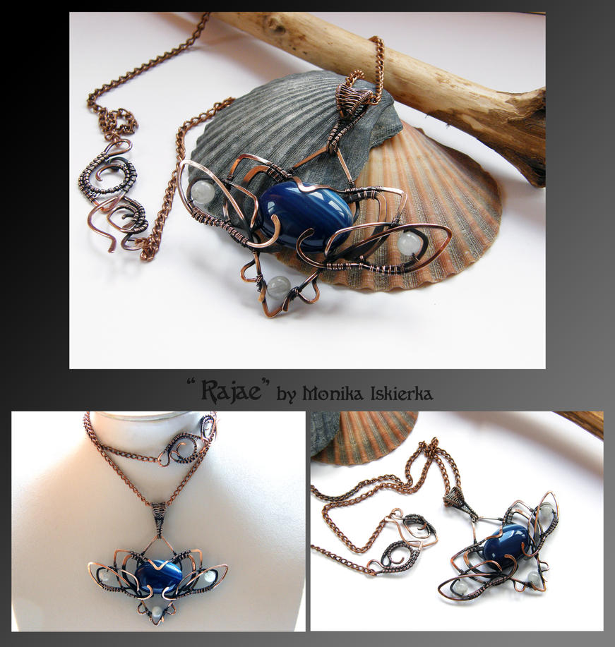 Rajae- wire wrapped copper necklace by mea00