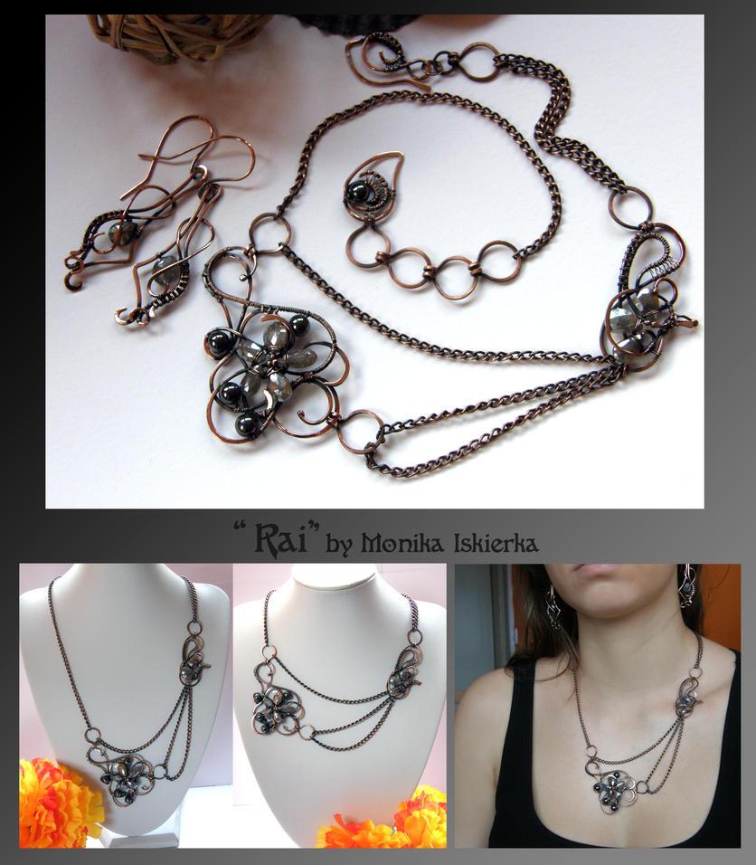 Rai- wire wrapped copper jewelry set by mea00