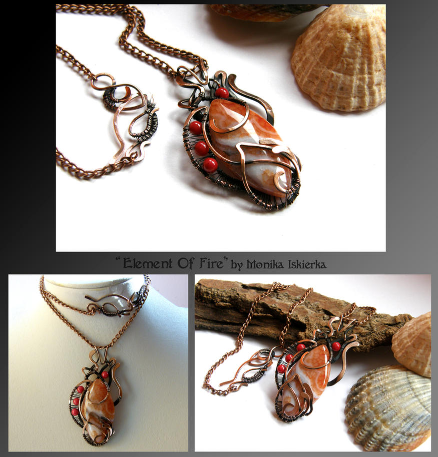 Element Of Fire- wire wrapped copper necklace by mea00