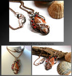 Element Of Fire- wire wrapped copper necklace