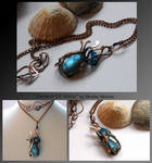Element Of Water- wire wrapped copper necklace