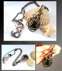 Phiala- wire wrapped copper necklace by mea00