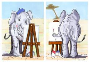 Elephant Artist ACEOs by calzephyr