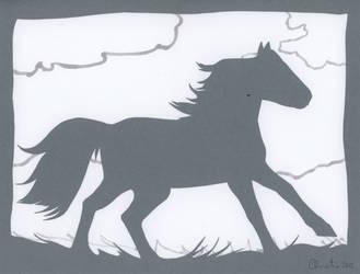Grey Ghost Horse Papercut