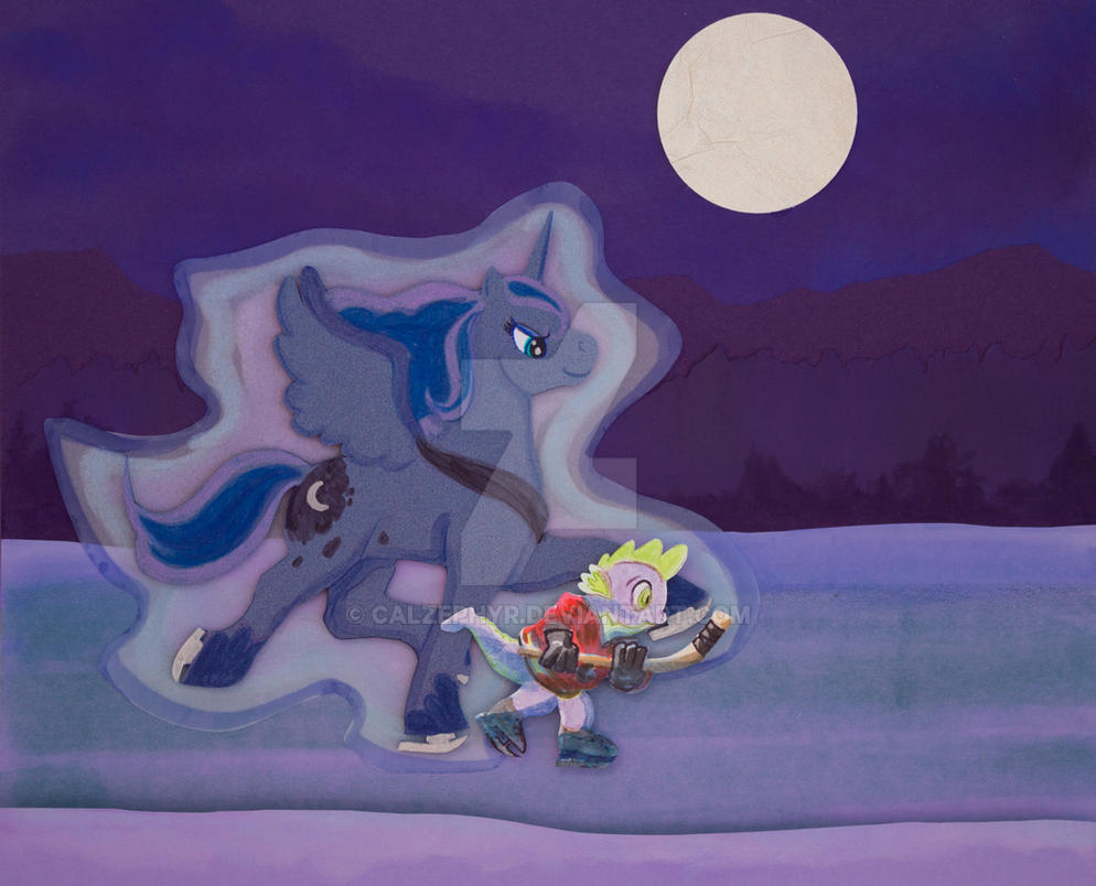 Moonlight Skate with Princess Luna and Spike by calzephyr