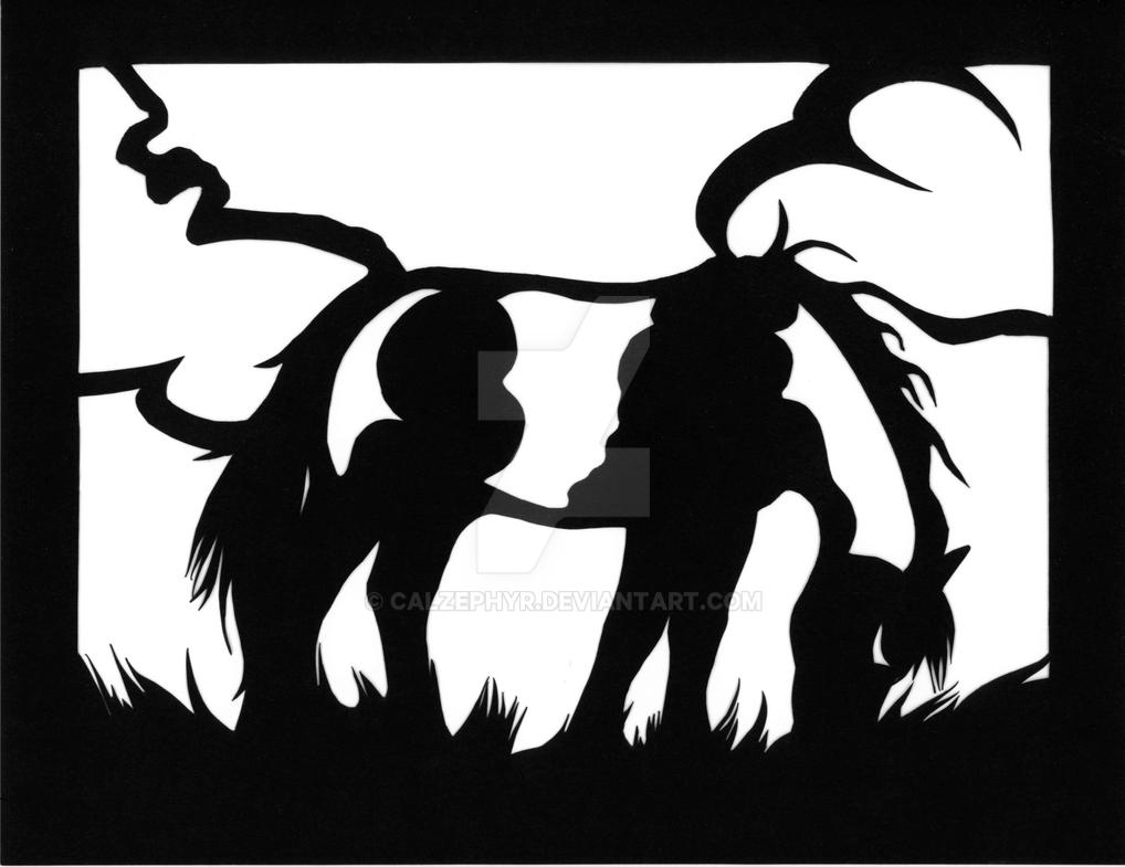 Grazing Pinto Mare Scherenschnitte Papercut by calzephyr