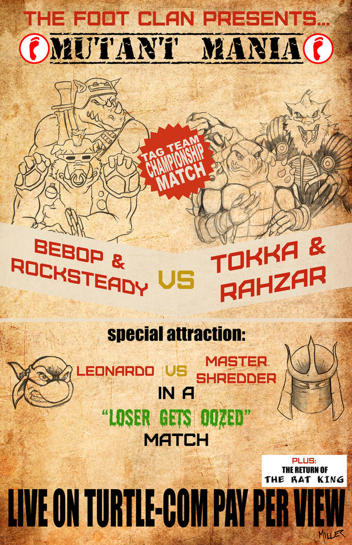 TMNT Wrestling Poster by lordmylar06