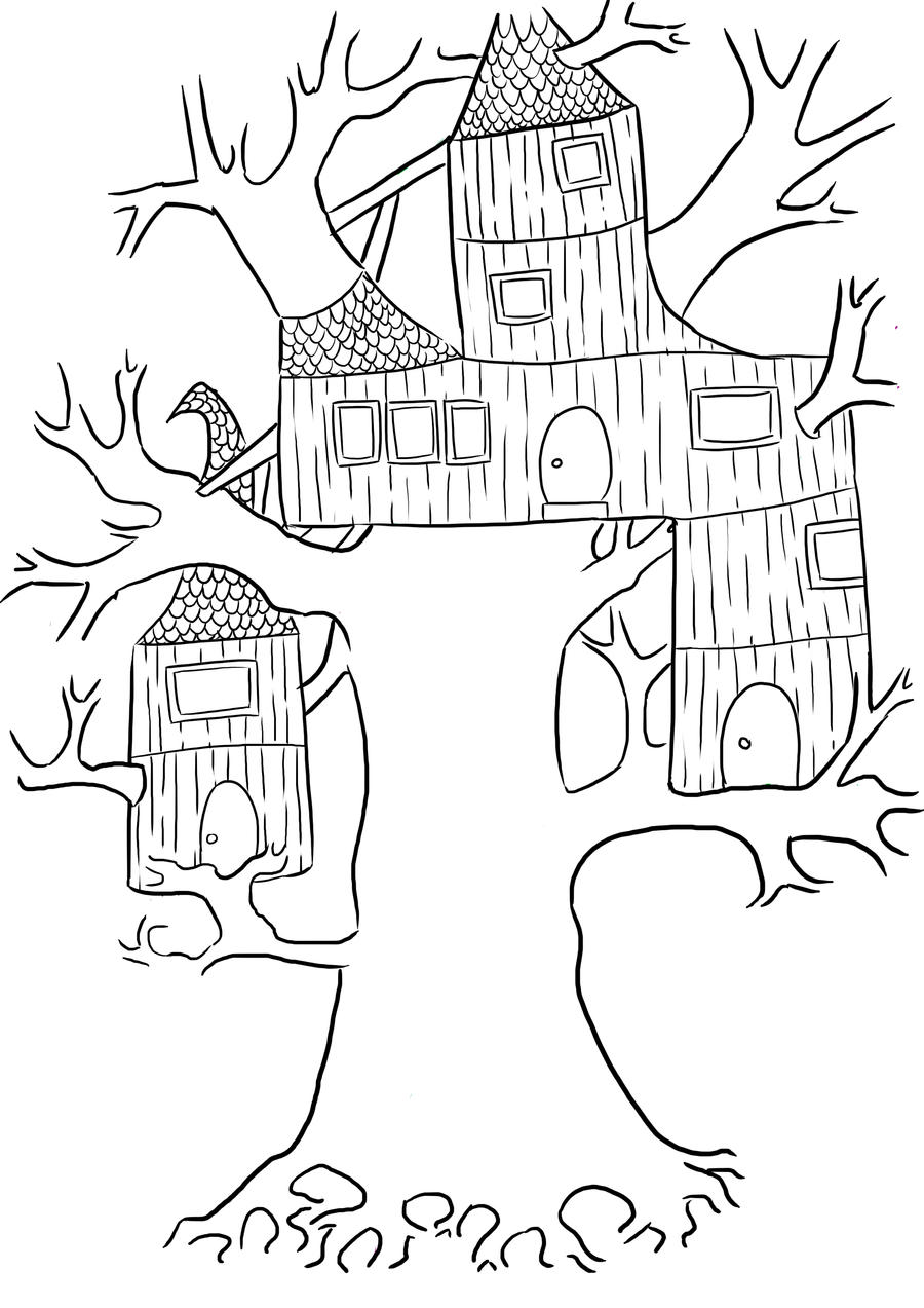 Tree Housees Free Colouring Pages Tree House Coloring Pages