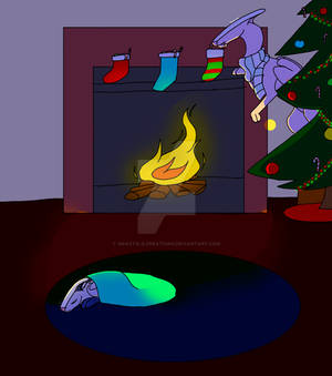 Winterbliss putting treats in stockings (Gift Art)