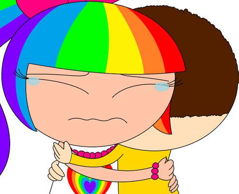 Joseph comforts Rainbow Kitty