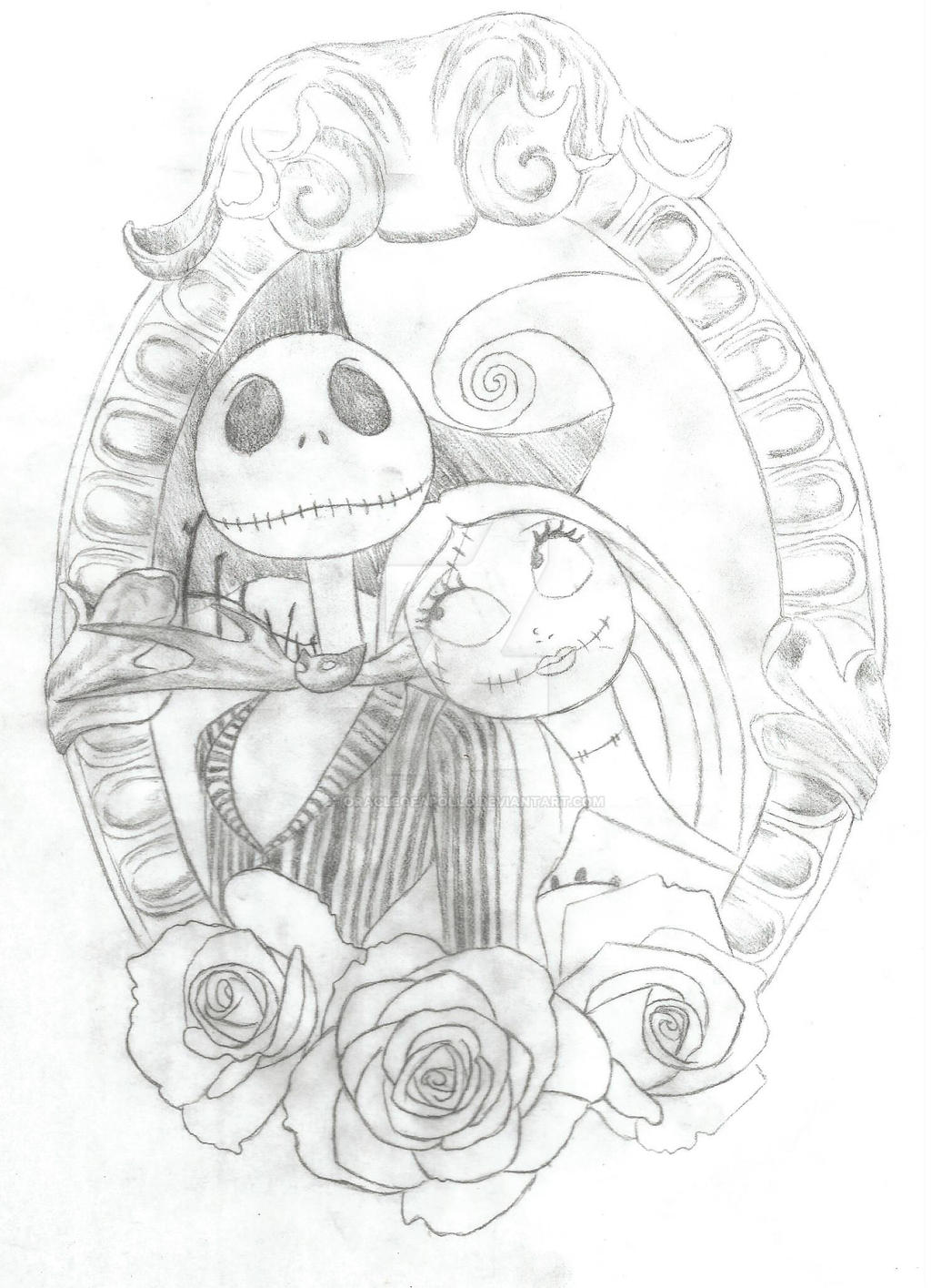 Jack and sally tattoo by oracleofapollo on deviantart for Jack skellington and sally tattoos