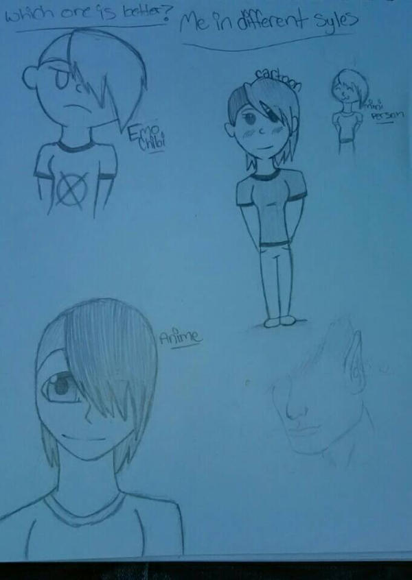 me as different styles  by Unknowndemon626