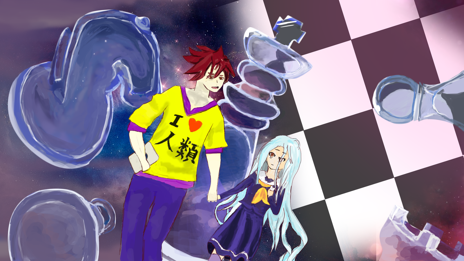 no game no life shiro and sora fan art by ampics on