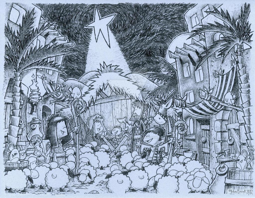 2012 MANGER Scene by inkeypenwell