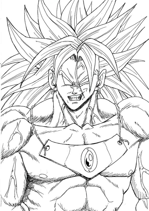 Broly outlines by bk 81 on deviantart for Dragon ball z broly coloring pages