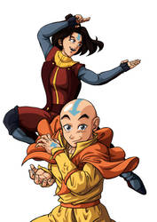 Jinora and Aang no BG