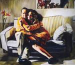 realistic painting couple hug