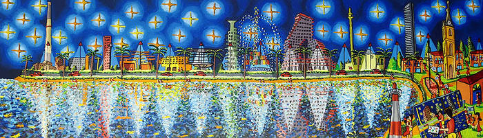 skyline of tel aviv city naive painting rafi perez by shharc