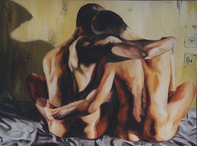gay art homosexual paintings men hugs nude naked by shharc