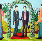 Two gay grooms marry two homosexual men love man