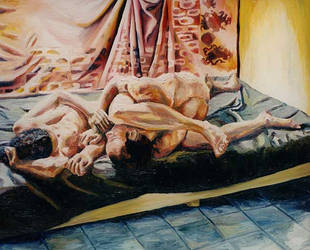 man woman love couple on bed realism art paintings by shharc